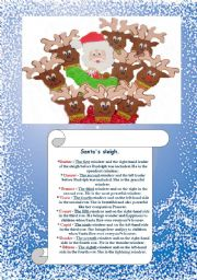 English Worksheet: WHO IS WHO? Santa�s sleigh.Rudolph, Dasher, Dancer, Prancer, Vixen, Comet, Cupid, Donder, and Blitzen. What do your students know about these guys?! :-)