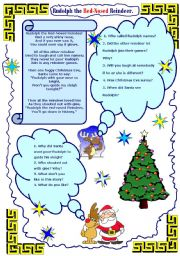 English Worksheet: Rudolph the Red-Nosed Reindeer - some serious and important questions.
