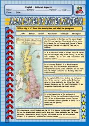 English Worksheets: CULTURAL ASPECTS - MAIN CITIES OF UNITED KINGDOM
