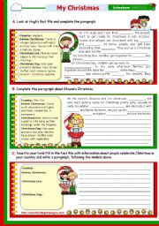 English Worksheet: Christmas Set  (8)  -  Writing a short text:
