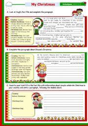 English Worksheets: Christmas Set  (8)  -  Writing a short text: