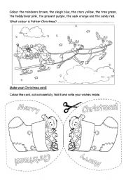 english worksheet christmas coloring card 1