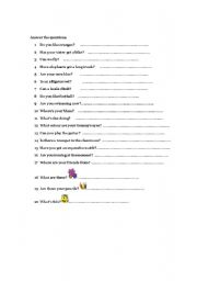 English Worksheets: Questions for revision