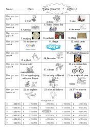 English Worksheets: Have you ever ~ BINGO