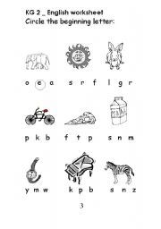 English Worksheets: circle the begining letter of the word
