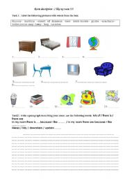 English Worksheets: room description