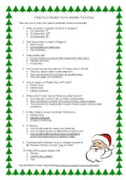 English Worksheet: Christmas celebrations around the world