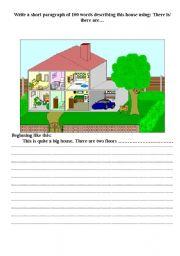 English teaching worksheets: Describing a house