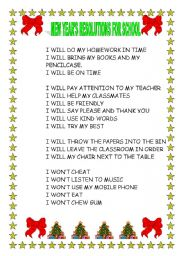 English Worksheet New Year E5 B7 Bd Resolutions For School
