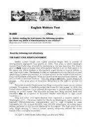 English Worksheet: The Civil Rights Movement