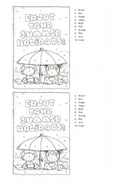 English Worksheet: Colour the