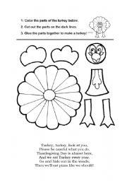English Worksheet: Turkey crafting