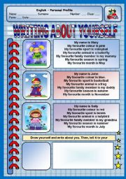 English Worksheet: Writing about yourself - Personal Profile