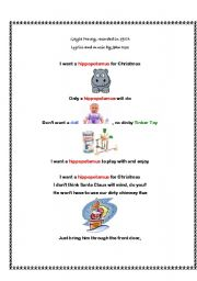 English Worksheet: A Christmas Song/Poem