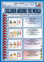 English Worksheet: Read and match - Children around the world - Speak about your country