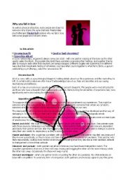 English Worksheets: Reading Comprehension about Relationships