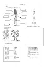 English Worksheets: Test - body parts