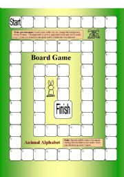 Board Game - Animal Alphabet - 62 Squares, 1 page