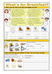 English Worksheet: What´s for Breakfast? - food, time, frequency