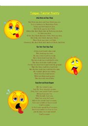 English Worksheets: Tongue Twister Poetry