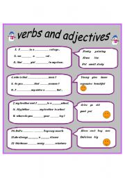 English worksheets: verbs and adjectives