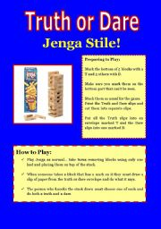 English Worksheet: Truth or Dare Jenga