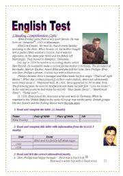 English Worksheets: English Test (3 parts): Reading Comprehension/Grammar+Vocabulary/Writing