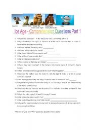 Ice Age Movie View Comprehension Questions Part 1