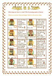 English Worksheet: Shops in a town
