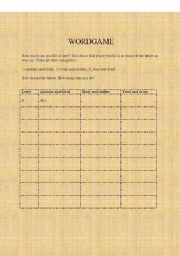 English Worksheets: WORDGAME