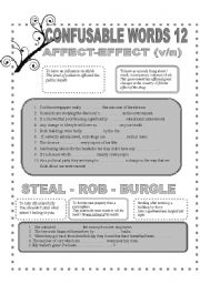 English Worksheet: CONFUSABLE WORDS 12-AFFECT-EFFECT-TEAL-ROB-BURGLE-COMPREHENSIVE-UNDERSTANDING