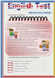 English Worksheet: Test- Sheila�s Daily Routine