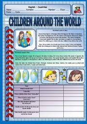 English Worksheet: Reading Comprehension - Children around the world