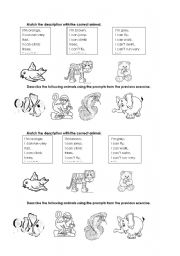 English Worksheet: Description of animals - Can/Can�t