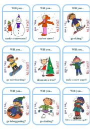 English Worksheet: Winter Activities Card Game