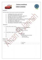 English worksheet: sentence: subject/predicate