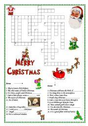 English Worksheet Christmas Crosswords