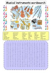 English Worksheet: Musical instruments wordsearch (plus b&w version and key)