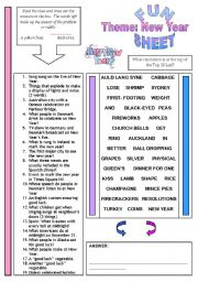 English Worksheet: Fun Sheet Theme: New Year