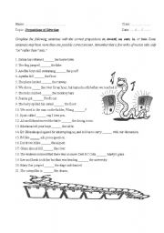 English Worksheet: prepositions of directions