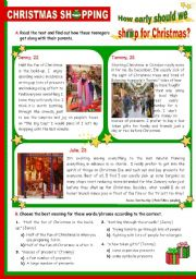 English Worksheet: Christmas Set  (9)  -  Christmas shopping: