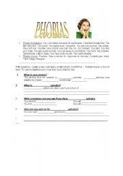 English Worksheet: Phobias - Funny Phobia Creation