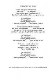 English Worksheet: The Bryan Adams Lyric exercise