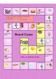 English Worksheet: Board game: Like or dislike food