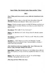 English Worksheet: Snow White, The Grinch, Santa Claus and the 7 Elves