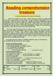 English Worksheets: Reading comprehension treassure booklet (20 passages)