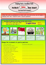 English Worksheet: Auxiliary - (Do-Does-Don�t-Doesn�t)