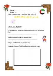 English Worksheets: National Day in U.A.E