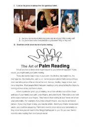 English Worksheet: the art of palm reading activities