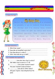 English Worksheets: my busy day